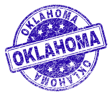 OKLAHOMA stamp seal watermark with distress texture. Designed with rounded rectangles and circles. Blue vector rubber print of OKLAHOMA title with scratched texture.