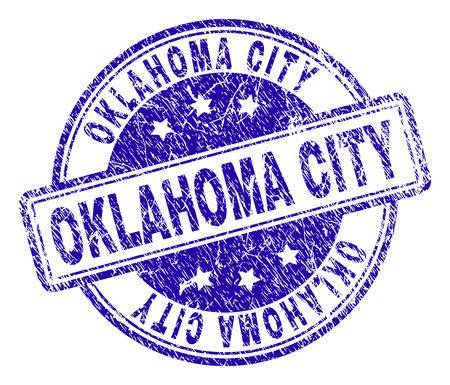 OKLAHOMA CITY stamp seal watermark with distress texture. Designed with rounded rectangles and circles. Blue vector rubber print of OKLAHOMA CITY label with dirty texture.  イラスト・ベクター素材