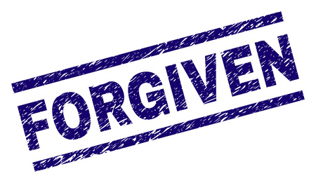 FORGIVEN seal print with grunge style. Blue vector rubber print of FORGIVEN label with scratched texture. Text label is placed between parallel lines.