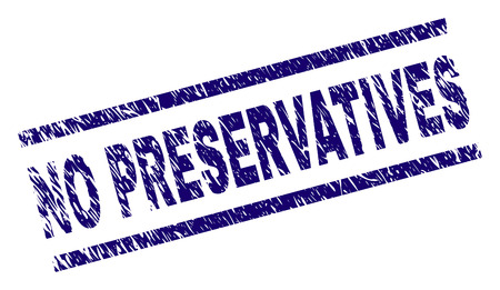 NO PRESERVATIVES seal watermark with scratced style. Blue vector rubber print of NO PRESERVATIVES title with retro texture. Text title is placed between parallel lines.