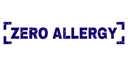 ZERO ALLERGY text seal watermark with corroded texture. Text tag is placed between corners. Blue vector rubber print of ZERO ALLERGY with grunge texture. Reklamní fotografie - 127669131