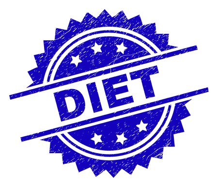 DIET stamp seal watermark with distress style. Blue vector rubber print of DIET label with dust texture. Иллюстрация