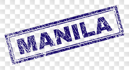 MANILA stamp seal watermark with rubber print style and double framed rectangle shape. Stamp is placed on a transparent background. Blue vector rubber print of MANILA text with unclean texture.