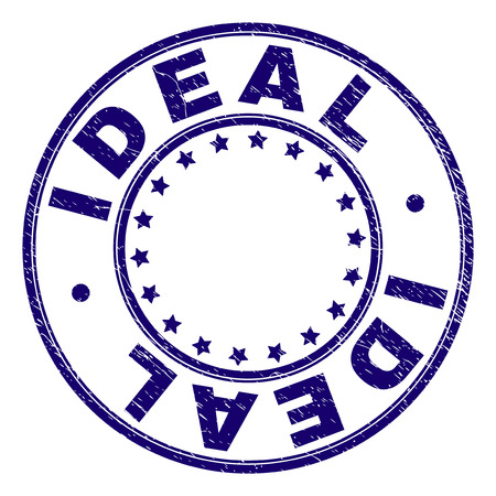 IDEAL stamp seal imprint with grunge texture. Designed with circles and stars. Blue vector rubber print of IDEAL title with grunge texture.