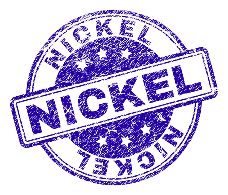 NICKEL stamp seal imprint with distress texture. Designed with rounded rectangles and circles. Blue vector rubber print of NICKEL text with dirty texture.