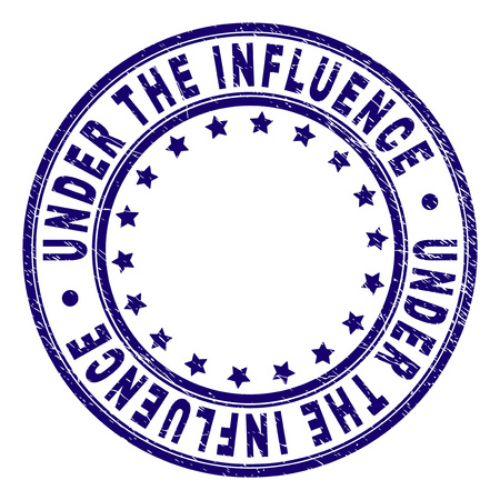 UNDER THE INFLUENCE stamp seal watermark with distress texture. Designed with round shapes and stars. Blue vector rubber print of UNDER THE INFLUENCE tag with dirty texture. Vectores