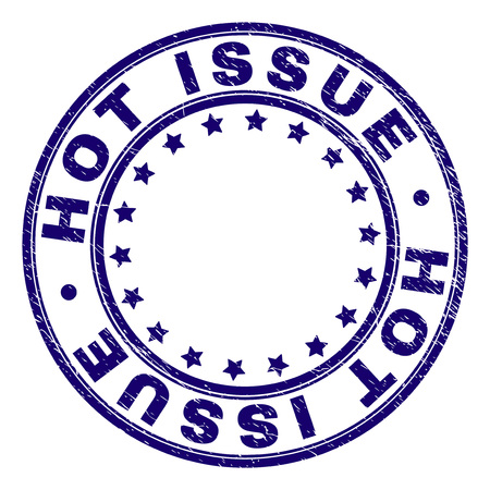 HOT ISSUE stamp seal imprint with distress texture. Designed with circles and stars. Blue vector rubber print of HOT ISSUE tag with corroded texture.