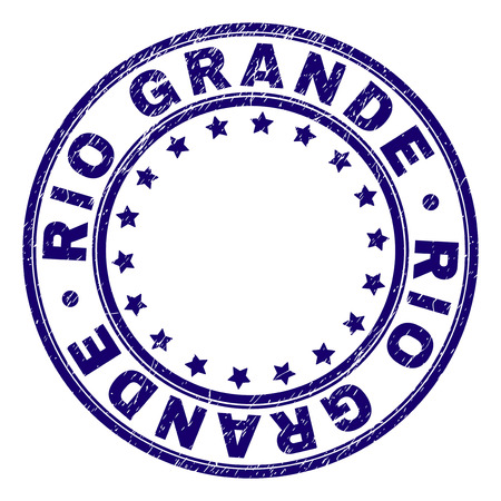 RIO GRANDE stamp seal imprint with distress texture. Designed with round shapes and stars. Blue vector rubber print of RIO GRANDE title with unclean texture. Illustration