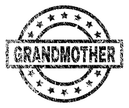 GRANDMOTHER stamp seal watermark with distress style. Designed with rectangle, circles and stars. Black vector rubber print of GRANDMOTHER text with dust texture.  イラスト・ベクター素材