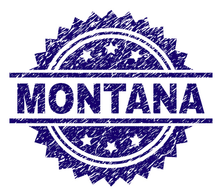 MONTANA stamp seal watermark with distress style. Blue vector rubber print of MONTANA tag with scratched texture.