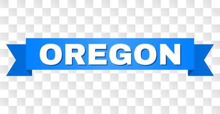 OREGON text on a ribbon. Designed with white title and blue tape. Vector banner with OREGON tag on a transparent background.
