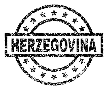 HERZEGOVINA stamp seal watermark with distress style. Designed with rectangle, circles and stars. Black vector rubber print of HERZEGOVINA tag with dirty texture.