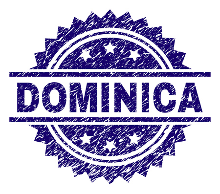 DOMINICA stamp seal watermark with distress style. Blue vector rubber print of DOMINICA label with dust texture. 向量圖像