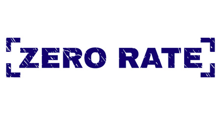 ZERO RATE text seal imprint with corroded style. Text caption is placed inside corners. Blue vector rubber print of ZERO RATE with corroded texture.