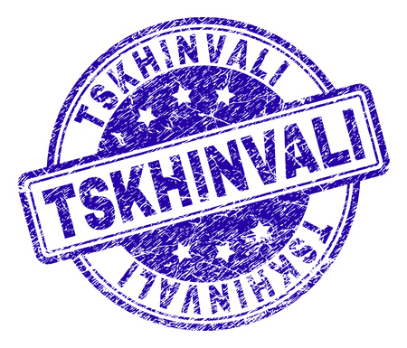 TSKHINVALI stamp seal watermark with distress texture. Designed with rounded rectangles and circles. Blue vector rubber print of TSKHINVALI title with corroded texture.