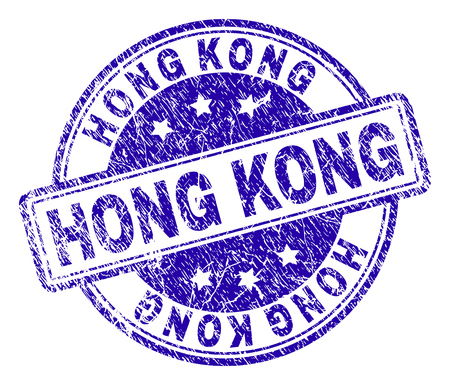 HONG KONG stamp seal watermark with grunge texture. Designed with rounded rectangles and circles. Blue vector rubber print of HONG KONG tag with dirty texture.
