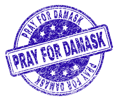 PRAY FOR DAMASK stamp seal watermark with grunge texture. Designed with rounded rectangles and circles. Blue vector rubber print of PRAY FOR DAMASK tag with grunge texture.