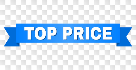 TOP PRICE text on a ribbon. Designed with white caption and blue tape. Vector banner with TOP PRICE tag on a transparent background.