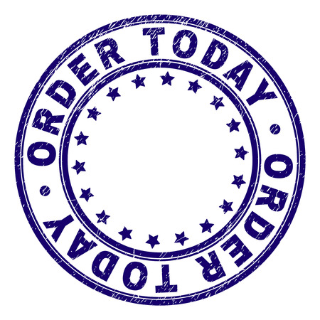 ORDER TODAY stamp seal watermark with grunge texture. Designed with circles and stars. Blue vector rubber print of ORDER TODAY text with grunge texture.