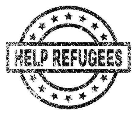 HELP REFUGEES stamp seal watermark with distress style. Designed with rectangle, circles and stars. Black vector rubber print of HELP REFUGEES title with dust texture.