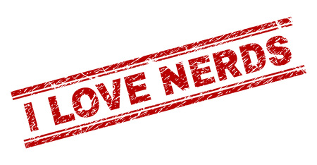 I LOVE NERDS seal print with grunge texture. Red vector rubber print of I LOVE NERDS tag with retro texture. Text tag is placed between double parallel lines.