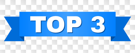 TOP 3 text on a ribbon. Designed with white title and blue tape. Vector banner with TOP 3 tag on a transparent background.