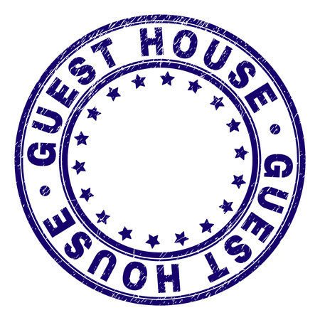 GUEST HOUSE stamp seal watermark with grunge texture. Designed with round shapes and stars. Blue vector rubber print of GUEST HOUSE caption with retro texture.
