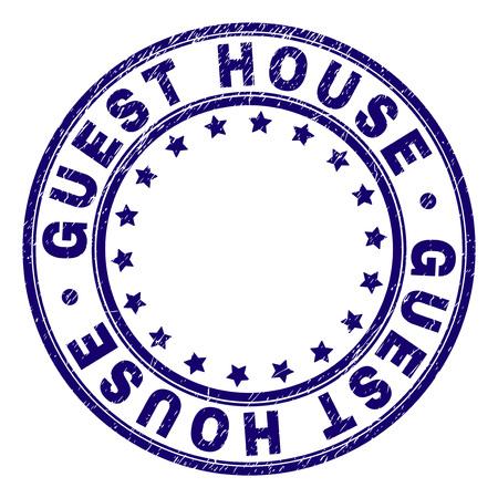 Marca de agua del sello del sello de la casa de invitados con textura grunge. Diseñado con formas redondas y estrellas. Impresión de goma de vector azul del título de la casa de invitados con textura retro.