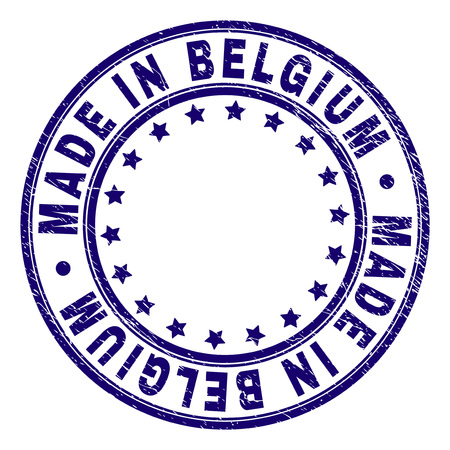 MADE IN BELGIUM stamp seal imprint with grunge texture. Designed with round shapes and stars. Blue vector rubber print of MADE IN BELGIUM label with grunge texture.