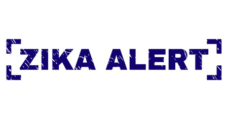 ZIKA ALERT title seal stamp with corroded texture. Text title is placed between corners. Blue vector rubber print of ZIKA ALERT with corroded texture. Illustration