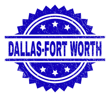 DALLAS-FORT WORTH stamp seal watermark with distress style. Blue vector rubber print of DALLAS-FORT WORTH title with dirty texture.
