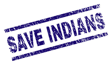 SAVE INDIANS seal print with distress style. Blue vector rubber print of SAVE INDIANS tag with corroded texture. Text tag is placed between parallel lines.