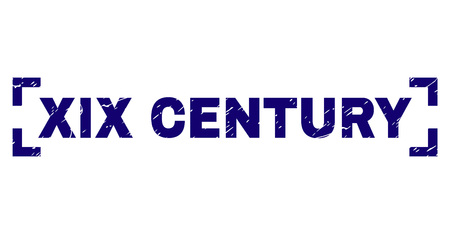 XIX CENTURY title seal watermark with corroded texture. Text title is placed between corners. Blue vector rubber print of XIX CENTURY with grunge texture. Illustration