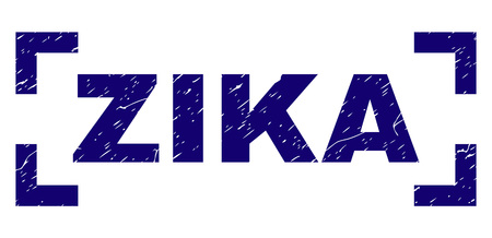 ZIKA tag seal imprint with grunge style. Text tag is placed inside corners. Blue vector rubber print of ZIKA with grunge texture. Illustration