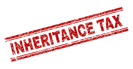 INHERITANCE TAX seal print with corroded effect. Red vector rubber print of INHERITANCE TAX label with corroded texture. Text label is placed between double parallel lines.