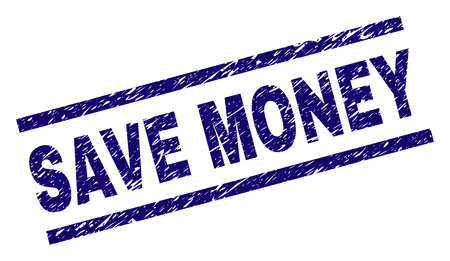 SAVE MONEY seal print with grunge style. Blue vector rubber print of SAVE MONEY text with dust texture. Text caption is placed between parallel lines.