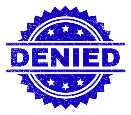 DENIED stamp seal watermark with distress style. Blue vector rubber print of DENIED title with retro texture. Ilustração