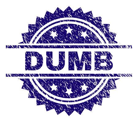 Filigrane de sceau de timbre DUMB avec style de détresse. Impression en caoutchouc de vecteur bleu de la légende DUMB avec texture rayée. Vecteurs