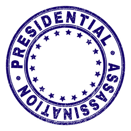 PRESIDENTIAL ASSASSINATION stamp seal watermark with grunge texture. Designed with round shapes and stars. Blue vector rubber print of PRESIDENTIAL ASSASSINATION label with unclean texture.
