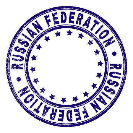 RUSSIAN FEDERATION stamp seal imprint with grunge texture. Designed with circles and stars. Blue vector rubber print of RUSSIAN FEDERATION text with corroded texture.