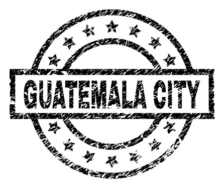 GUATEMALA CITY stamp seal watermark with distress style. Designed with rectangle, circles and stars. Black vector rubber print of GUATEMALA CITY title with unclean texture.