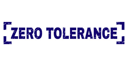 ZERO TOLERANCE title seal imprint with distress texture. Text title is placed inside corners. Blue vector rubber print of ZERO TOLERANCE with grunge texture. Reklamní fotografie - 127669541