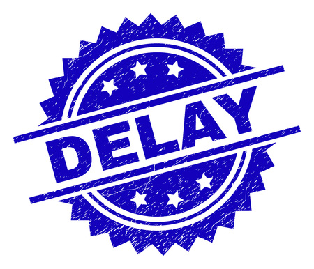 DELAY stamp seal watermark with distress style. Blue vector rubber print of DELAY title with dust texture. Archivio Fotografico - 127669544
