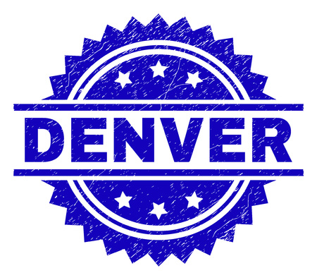 DENVER stamp seal watermark with distress style. Blue vector rubber print of DENVER text with dust texture.