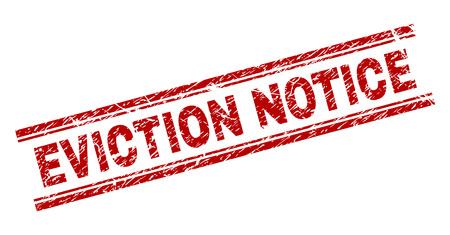 Räumungshinweis Siegeldruck mit korrodierter Textur. Roter Vektorgummidruck der Bildunterschrift EVICTION NOTICE mit schmutziger Textur. Die Textbeschriftung wird zwischen doppelten parallelen Linien platziert.