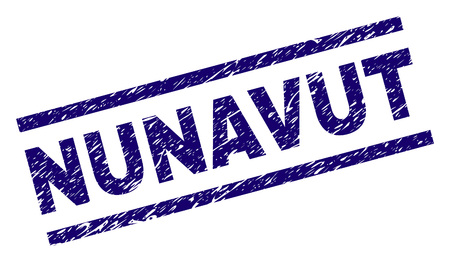 NUNAVUT seal stamp with distress style. Blue vector rubber print of NUNAVUT caption with dust texture. Text caption is placed between parallel lines. Illustration