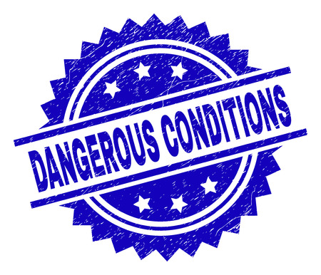 DANGEROUS CONDITIONS stamp seal watermark with distress style. Blue vector rubber print of DANGEROUS CONDITIONS caption with unclean texture.