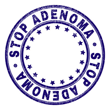 STOP ADENOMA stamp seal watermark with grunge texture. Designed with round shapes and stars. Blue vector rubber print of STOP ADENOMA caption with dust texture.