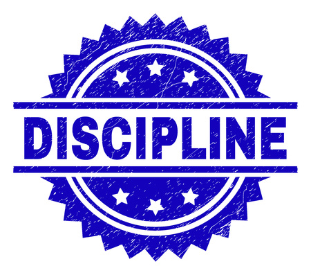 DISCIPLINE stamp seal watermark with distress style. Blue vector rubber print of DISCIPLINE caption with dust texture.
