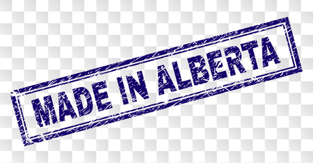 MADE IN ALBERTA stamp seal watermark with rubber print style and double framed rectangle shape. Stamp is placed on a transparent background.